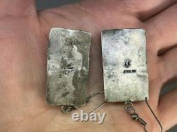 VTG Native Old Pawn Navajo Spiny Oyster Shell Sterling Silver Earrings Signed LS