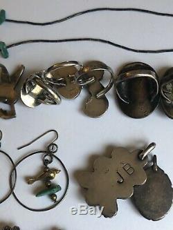 VTG Navajo Zuni Dishta Sterling Turquoise Rings Hummingbird Pendant Earring Lot