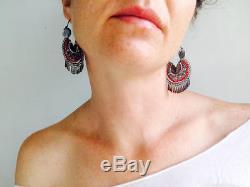 VTG Oaxacan Filigree & Coral Earrings Hoops Sterling Silver Mexico Frida Kahlo