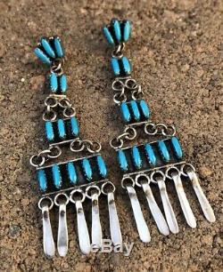 VTG Old Zuni Needle Point Turquoise Sterling Silver Dangle Earrings 3 1/8 Long