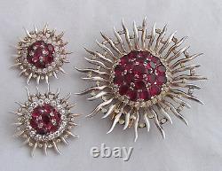 VTG Philippe Trifari Sterling GW Raspberry Red Sunburst Dress Clip &Earrings Set
