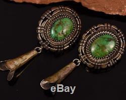 VTG Platero Old Pawn Navajo Gem Grade Kings Manassa TURQUOISE Sterling Earrings