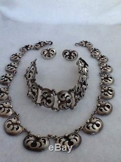 VTG SHADOWBOX RIVERA TAXCO NECKLACE & EARRINGS MEXICO MEXICAN STERLING SILVER