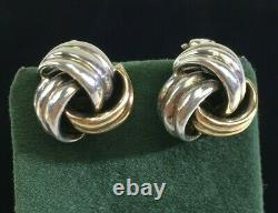 VTG Signed Tiffany & Co 14K Yellow Gold Earrings 925 Sterling Clip On DS38