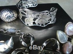 VTG Sterling Silver. 925 Lot Necklaces Rings Bracelet Earrings 121 Grams Signed