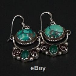 VTG Sterling Silver NAVAJO ZY Braided Turquoise Garnet Dangle Earrings 8.5g