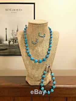 VTG Sterling Silver Turquoise Set / Lot Necklace Bracelet Earrings 925 C Pollack