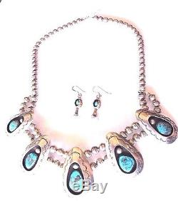 VTG Sterling silver Turquoise Shadowbox Squash blossom Necklace & earrings