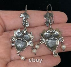 VTG Style Mexican Sterling Silver Hand Love Birds Heart Pearl Charm Earrings