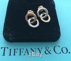 VTG Tiffany & Co Sterling Silver & 18k Gold Interlocking Circles Earrings RARE
