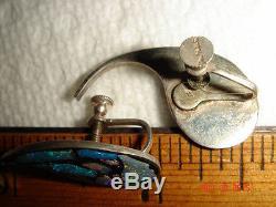 Vtg Victorian Art Deco Sterling Silver Rain Drops Opal Inlay Screwback Earrings