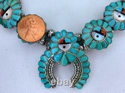 VTG Zuni Sterling Silver Turquoise Sunface Squash Blossom Necklace Earrings #baj