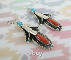 VTG squash blossom sterling silver coral turquoise dangle earrings