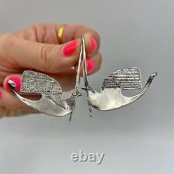 Very Cool Handmade Vintage Mid Century Sterling Silver Bird Earrings Boho Tribal