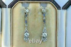 Victorian Edwardian Elongated Antique Earrings 925 Sterling Silver 2.4Ct Diamond