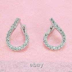Victorian Edwardian Tear Drop Huggie Earrings 925 Sterling Silver 2.2 Ct Diamond