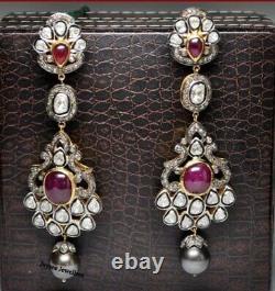 Victorian Gorgeous Ruby Gemstone Rose Cut Polki Earring 925 Sterling Silver