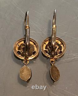 Victorian Seed Pearl & Garnet Dangle Gold Wash Sterling Silver 925 Earrings Vtg