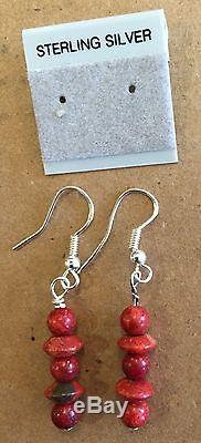 Vintag BENCH BEADS Native American Sterling Silver RED CORAL Necklace & Earrings