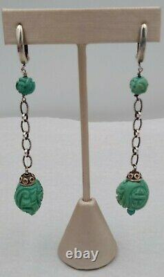 VintageAntique CarvedChinese Turquoise Shou Beads Sterling Silver 925 Earrings