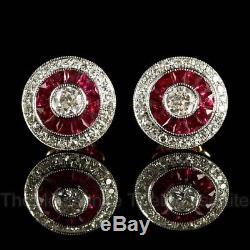 Vintage 0.8 Ct Off White Moissanite 925 Sterling Silver Halo Stud Bezel Earrings