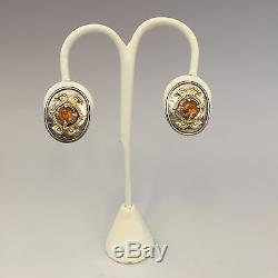 Vintage 14K and Hammered Sterling Silver Honey Amber Earrings Clip