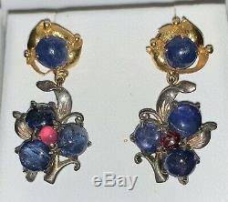 Vintage 14k and Sterling Cabochon Sapphire and Ruby Earrings Art Nouveau