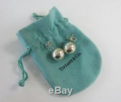 Vintage 14mm Tiffany & Co. 925 Sterling Silver Bead Post Earrings