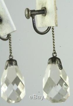 Vintage 1920's Art Deco Rock Crystal Quartz Sterling Silver Earrings