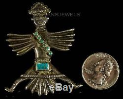Vintage 1940's Navajo Old Pawn Gorgeous KACHINA Turquoise Sterling Pin Brooch