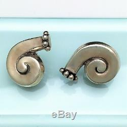 Vintage 1940's Signed Margot de Taxco Sterling Silver Modernist Earrings 5580