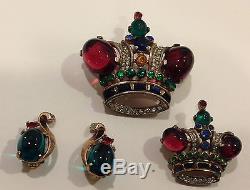Vintage 1940s Trifari sterling Philippe 2 crown pins + earrings ruby cabachons