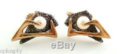 Vintage 1950s Sculptural Abstract Modernist 14K Gold Sterling & Pearl EARRINGS