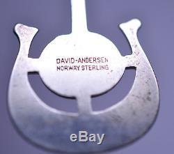 Vintage 1964 David Andersen Norway Sterling Silver Thulite Dangle Screw Earrings