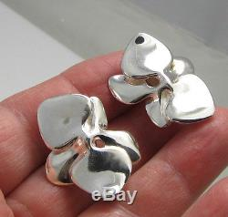 Vintage 1984 Stunning Angela Cummings Sterling Silver Orchid Pierced Earrings