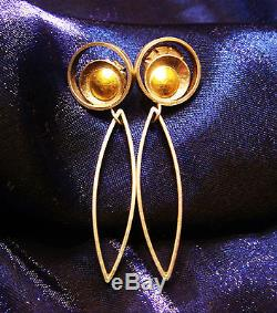 Vintage 22 Karat Gold-Sterling Silver-Art Deco-Modernist earrings
