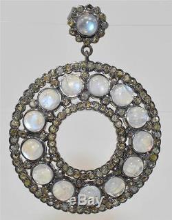 Vintage 23.40ctw Genuine Rose Cut Diamonds & Moonstone Sterling Silver Earrings