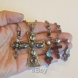 Vintage 3 Sterling Silver Garnet Moonstone Earrings & Amethyst Cross Necklaces