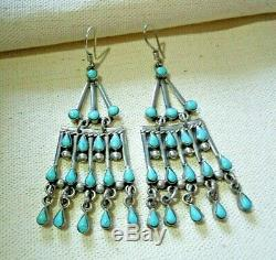 Vintage 3 Sterling Silver + Turquoise Chandelier Earrings Taxco MEXICO