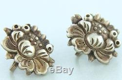 Vintage 40s Hector Aguilar Sterling Silver Earrings Signed HA 940 Taxco