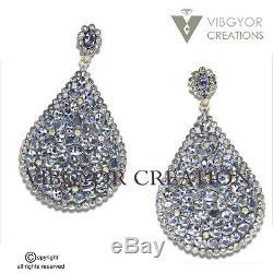 Vintage 925 Sterling Silver Crystal quartz 14kGold Stud Earrings Fashion Jewelry