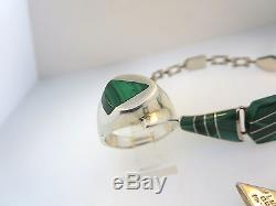 Vintage 925 Sterling Silver Mexico Malachite Link Bracelet Ring & Earrings Set