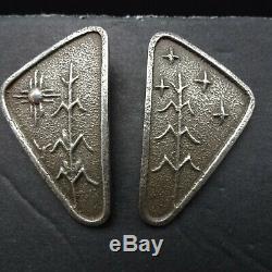 Vintage ANTHONY LOVATO Kewa TUFA CAST Sterling Silver EARRINGS Corn Sun Stars