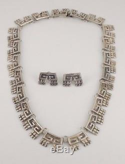 Vintage Alfredo Villasana Taxco Mexico Sterling Silver Necklace & Earrings Set