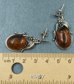 Vintage Amber Drop Earrings 925 Sterling Silver Pierced Ears Statement Jewellery
