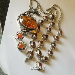 Vintage Amber Stone 925 Sterling Silver Earrings Bracelet 2 Necklaces Lot