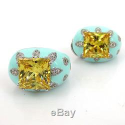 Vintage Anderoli 15ct Citrine 0.80ct Diamond Enamel Sterling Silver Earrings