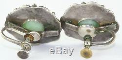 Vintage Antique 1920's Chinese Jade Sterling Silver Screw Earrings