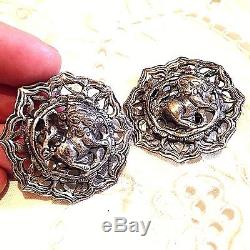 Vintage Antique 925 Sterling Silver Lion Button Clip On Earrings