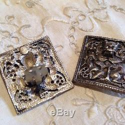 Vintage Antique 92.5% Sterling Silver Dragon Button Clip On Earrings